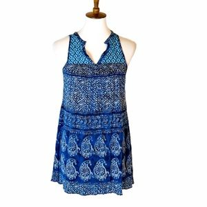Blue peasant style cute tunic top